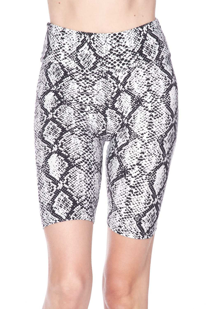 Front view of our mid thigh length  Buttery Soft White Snakeskin High Waist Plus Size Biker Shorts t with a 3 inch waistband.