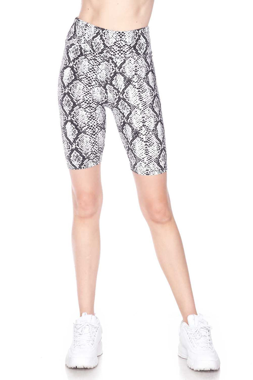 Front view image of Buttery Soft White Snakeskin High Waist Plus Size Biker Shorts - 3 Inch Waist