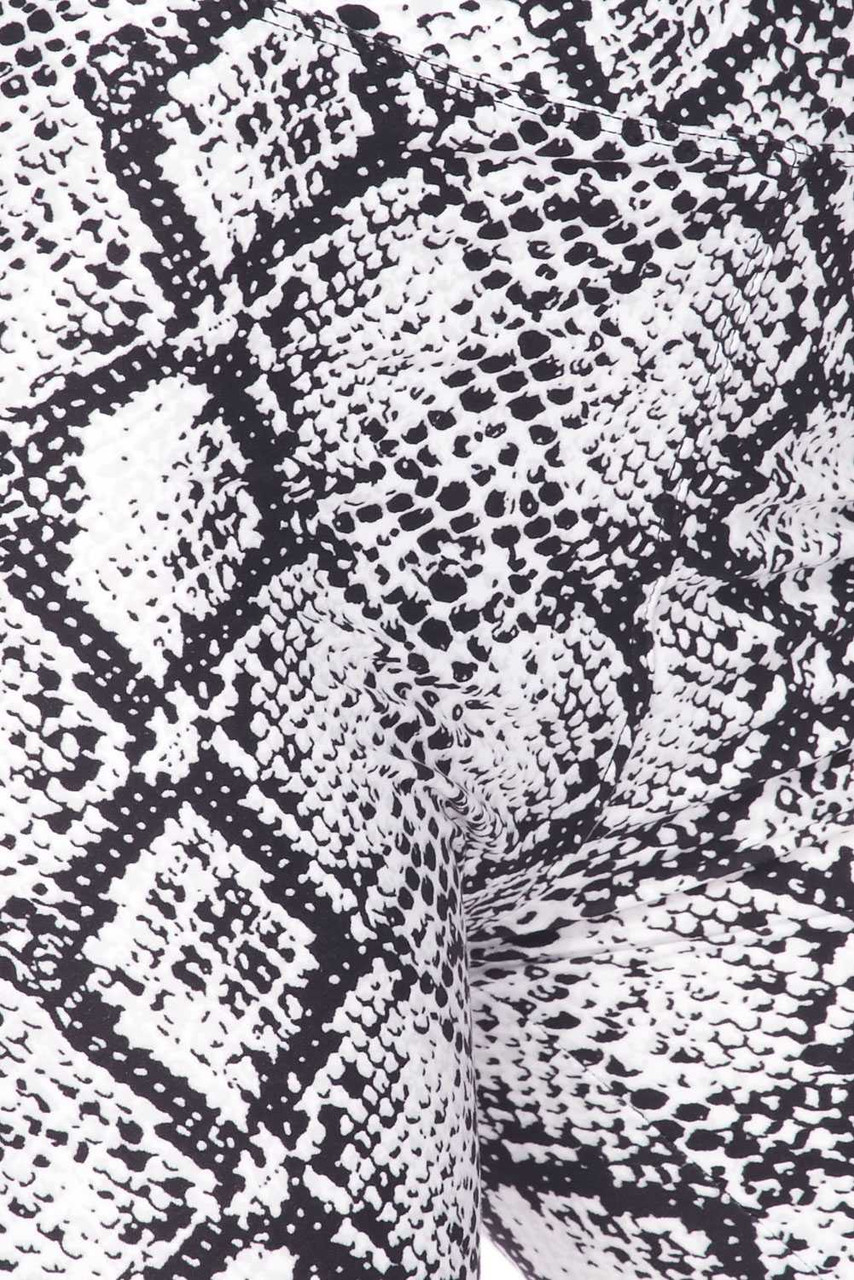 Close up image swatch of Buttery Soft White Snakeskin High Waist Plus Size Biker Shorts - 3 Inch Waist