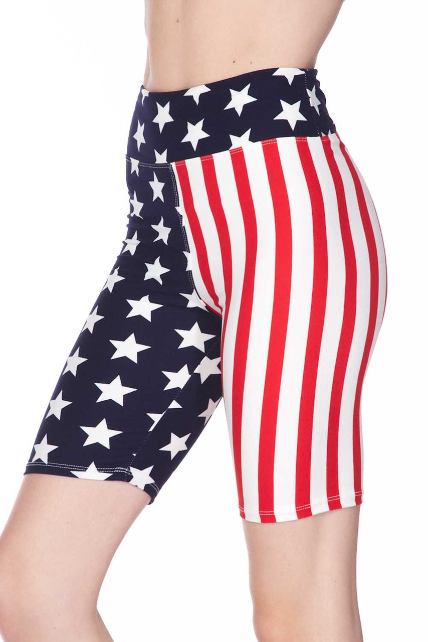 Left side view image of Buttery Soft USA Flag High Waist Biker Shorts showing off the striped side.
