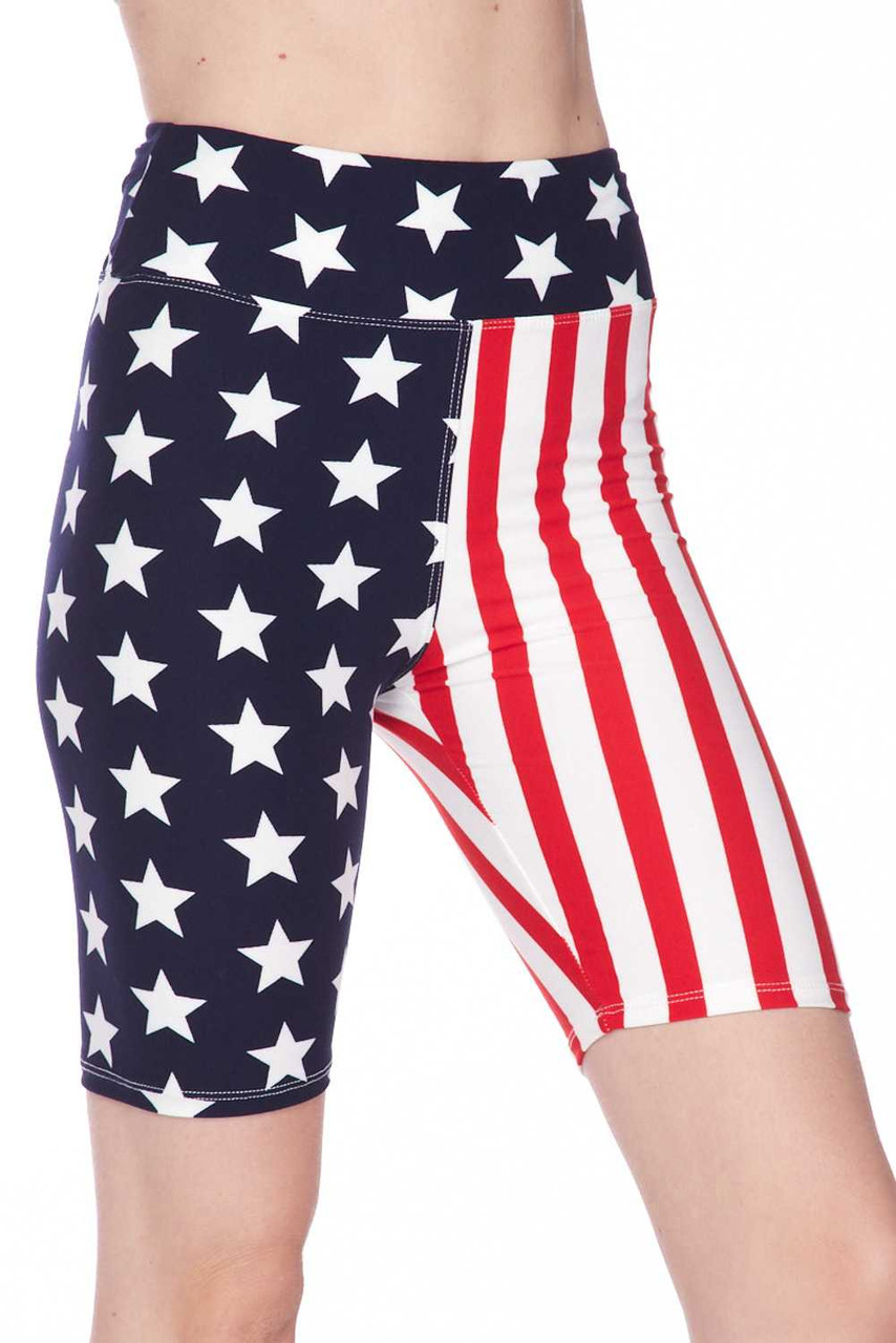 Right side leg view of Buttery Soft USA Flag High Waist Biker Shorts  showing off the star print side.