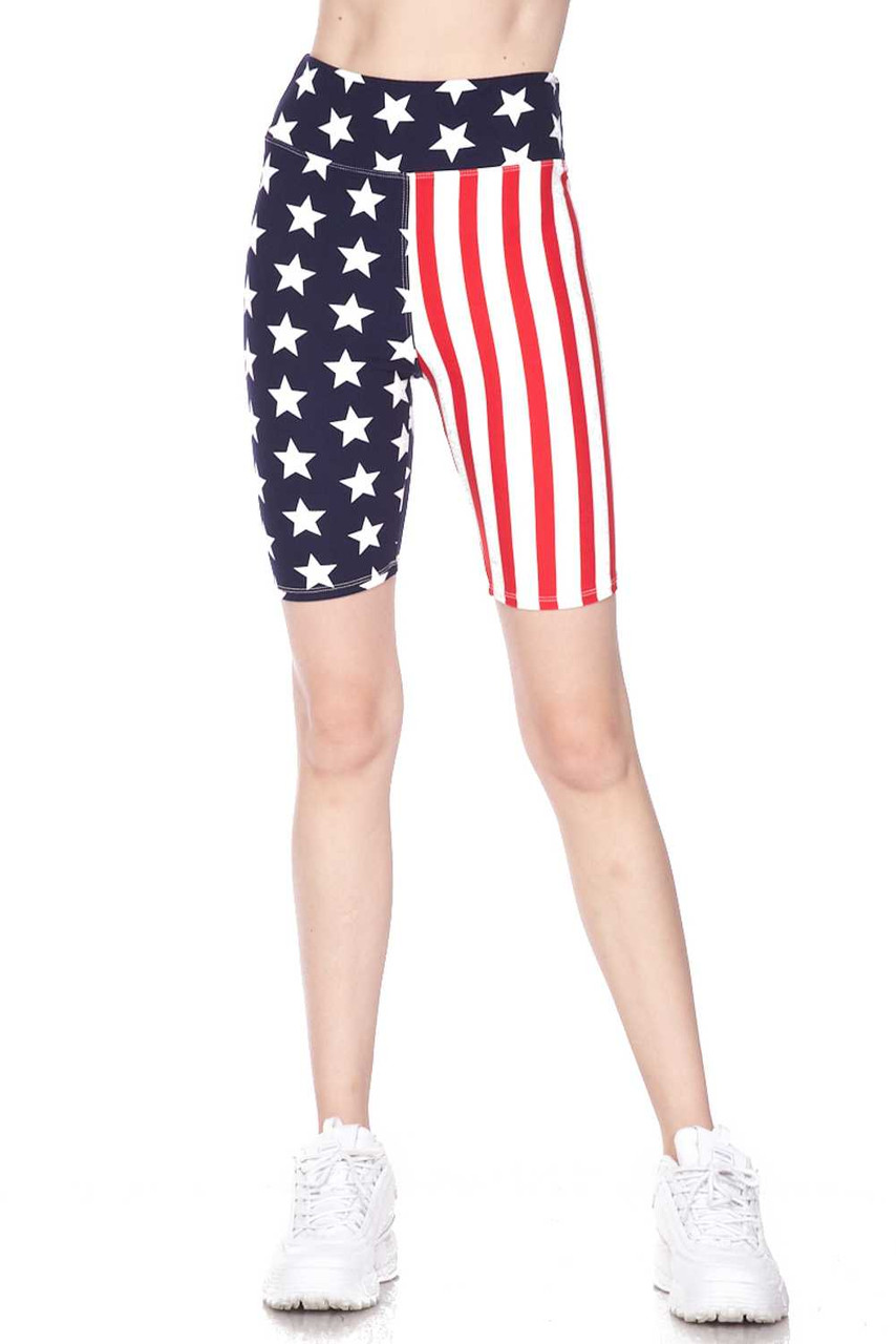 Half body front view image of  Buttery Soft USA Flag High Waist Plus Size Biker Shorts with a body hugging fit, and a fabulous Fourth of July look.