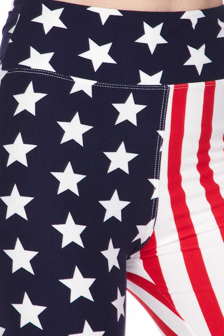 Close ups watch of Buttery Soft USA Flag High Waist Plus Size Biker Shorts - 3 Inch Waist