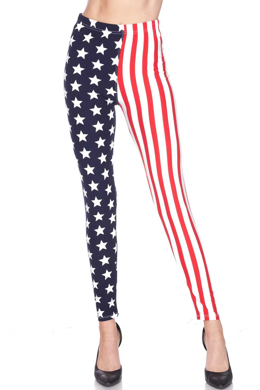 Front view image of Buttery Soft USA Flag Leggings with an American Flag inspired split leg design with one side having red and white vertical stripes, and a white stars on navy background on the other.