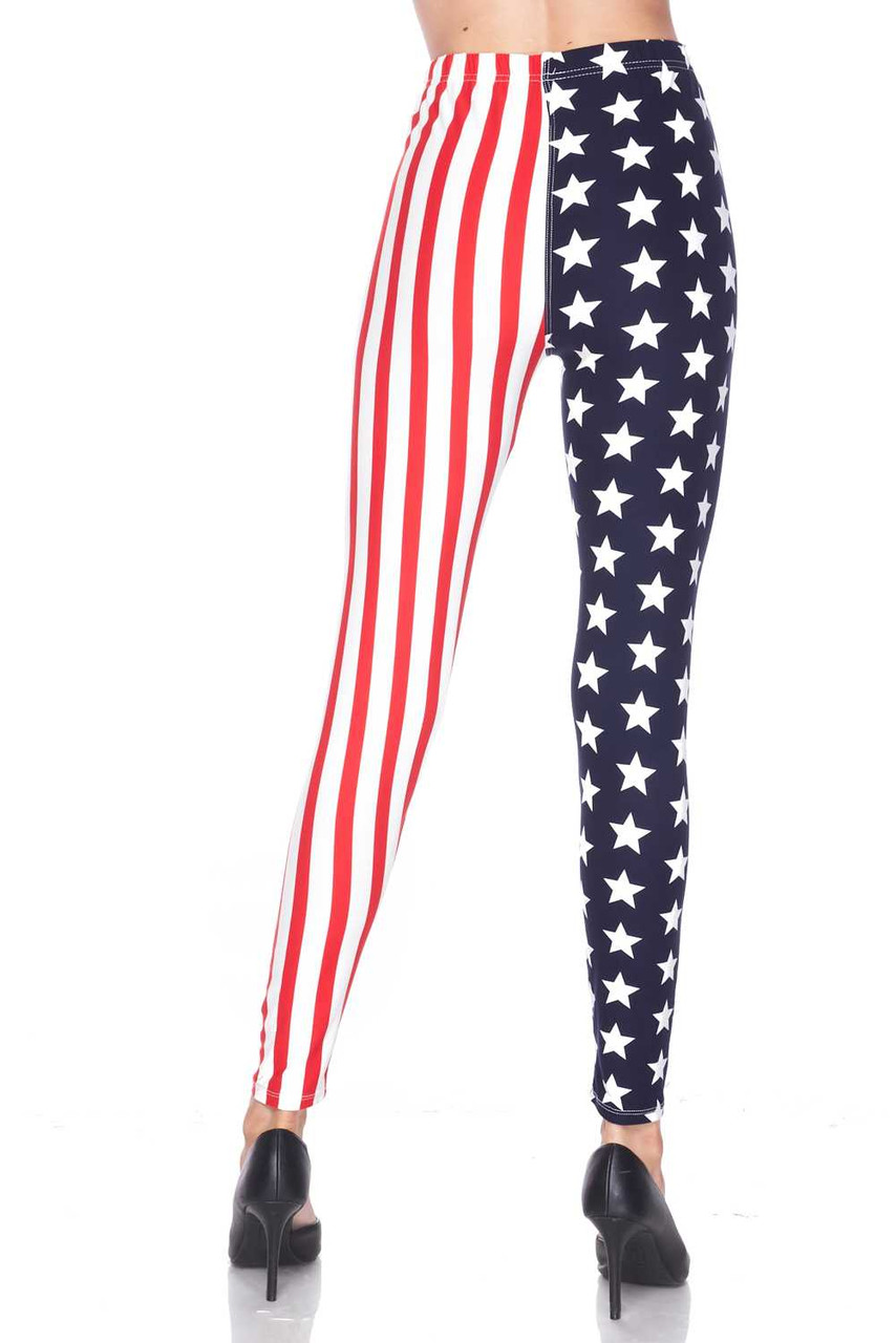 Back view image of our Buttery Soft USA Flag Leggings with a fabulous Fourth of July look.