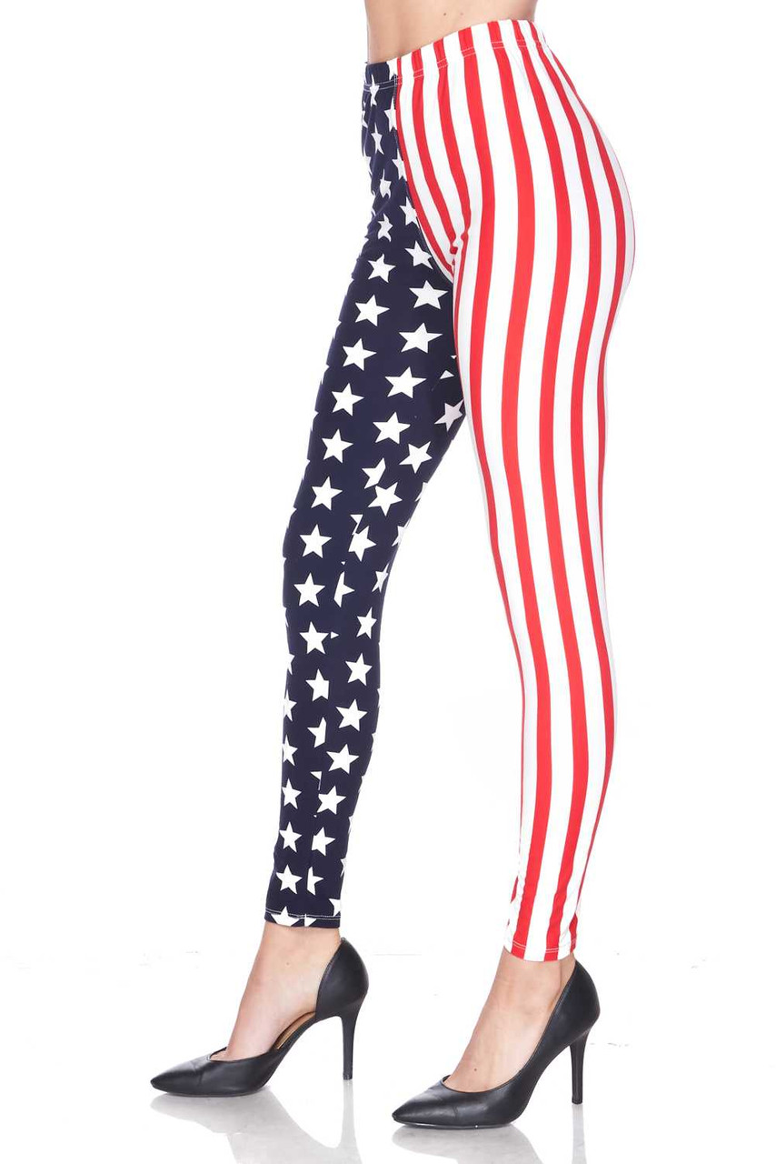 Left side leg view of Buttery Soft USA Flag Leggings showing off the striped side.