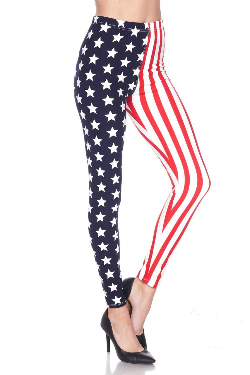 Right side leg view of Buttery Soft USA Flag Plus Size Leggings showing off the star print side.