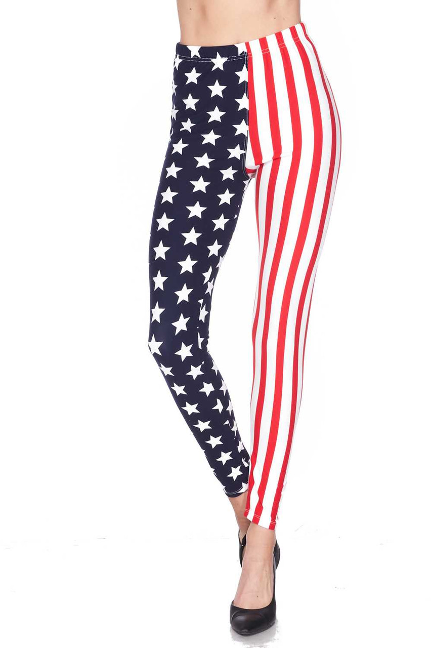 Front image of Buttery Soft USA Flag Plus Size Leggings with a full length fitted skinny leg cut.