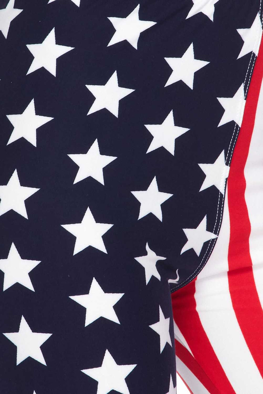 Close up swatch of Buttery Soft USA Flag Plus Size Leggings