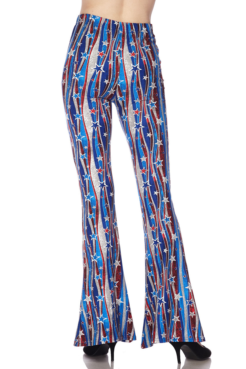 Back view image of Buttery Soft Metallic USA Flag Bell Bottom Leggings featuring a cool retro flared leg opening.