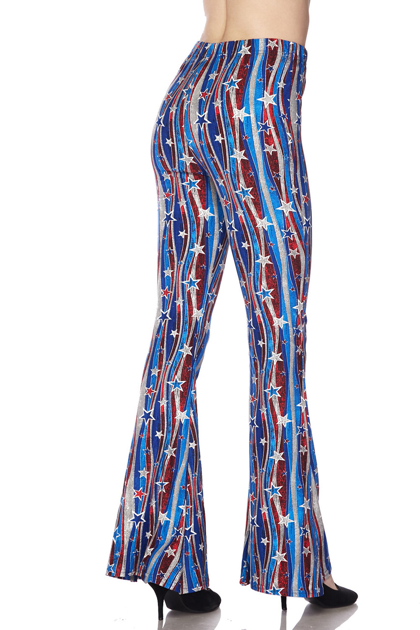 Partial back/right side view image of Buttery Soft Metallic USA Flag Bell Bottom Leggings