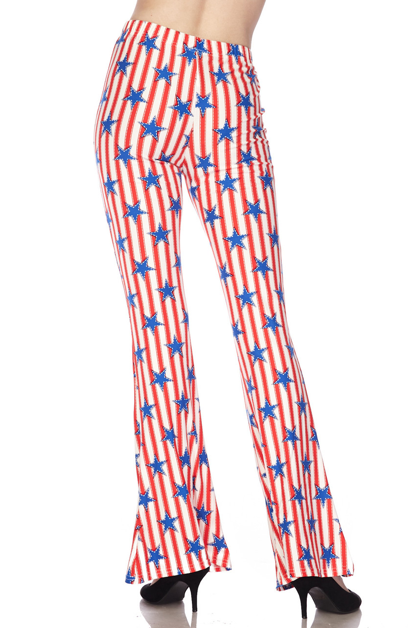 Back view image of Buttery Soft Vertical Stars on Stripes Bell Bottom Leggings with a retro flared leg opening cut.