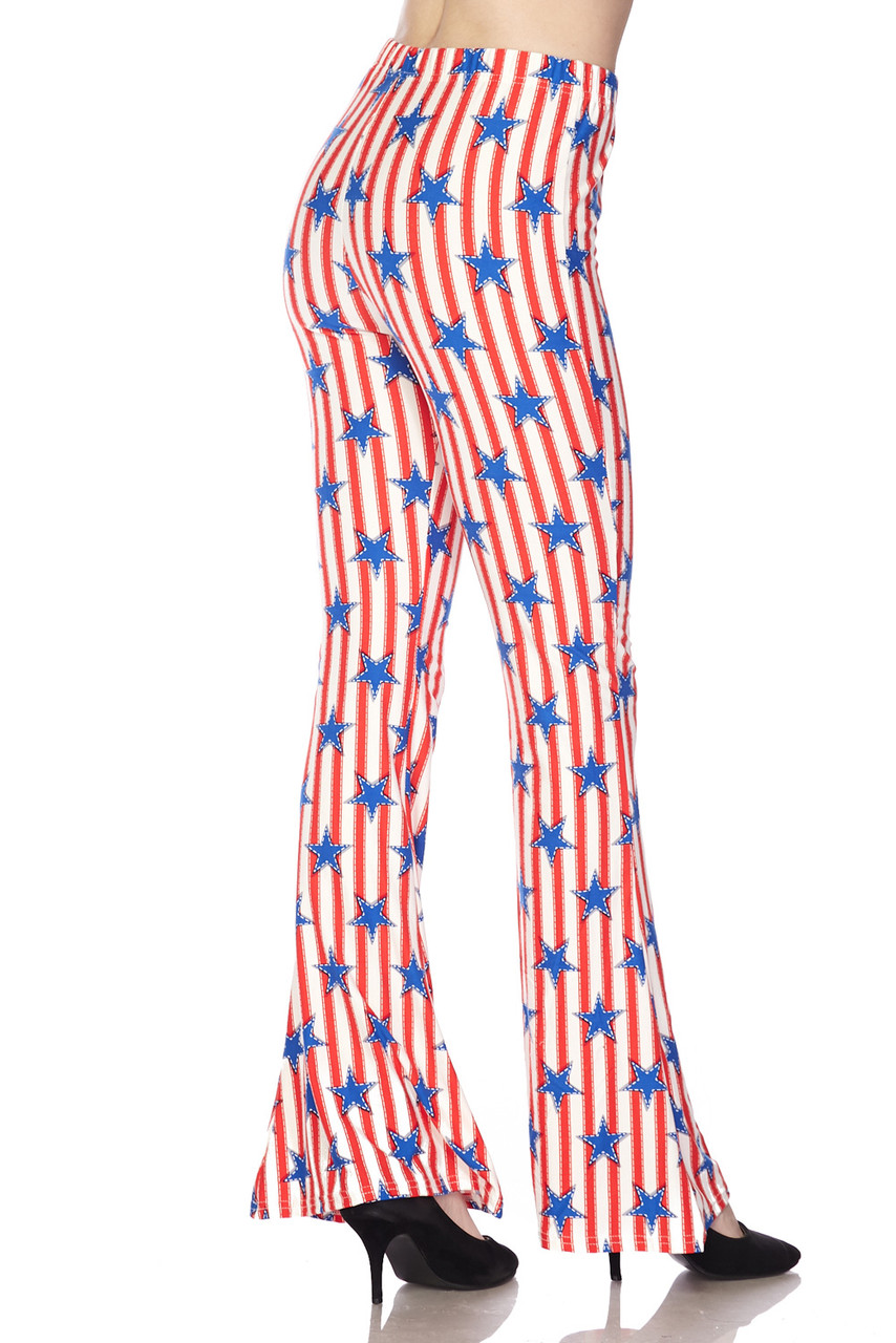 Partial rear view/right side image of Buttery Soft Vertical Stars on Stripes Bell Bottom Leggings