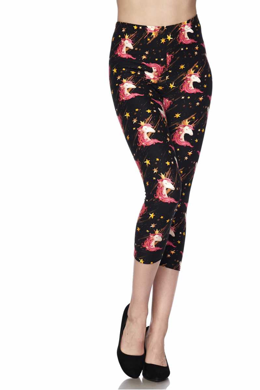 Front view image of Buttery Soft Twinkle Unicorn Plus Size Capris featuring an elastic waist that comes up to about mid rise