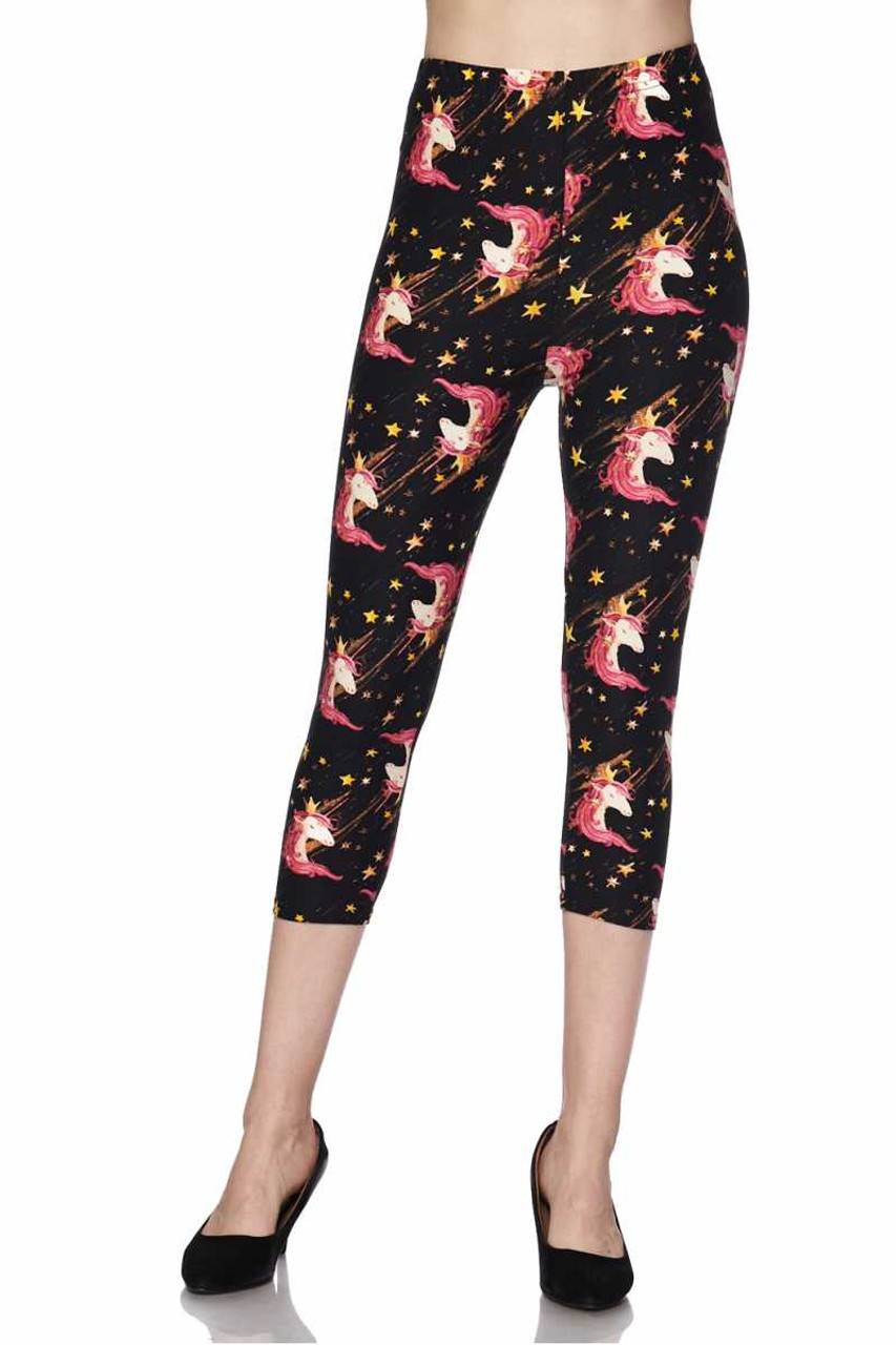 Front view image of skinny leg cut Buttery Soft Twinkle Unicorn Plus Size Capris with a fun and whimsical aesthetic.