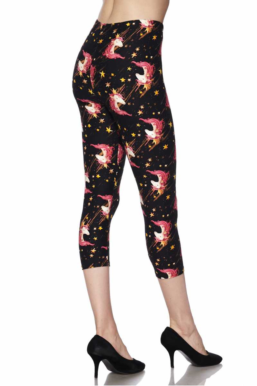 Partial back/right side view of Buttery Soft Twinkle Unicorn Plus Size Capris