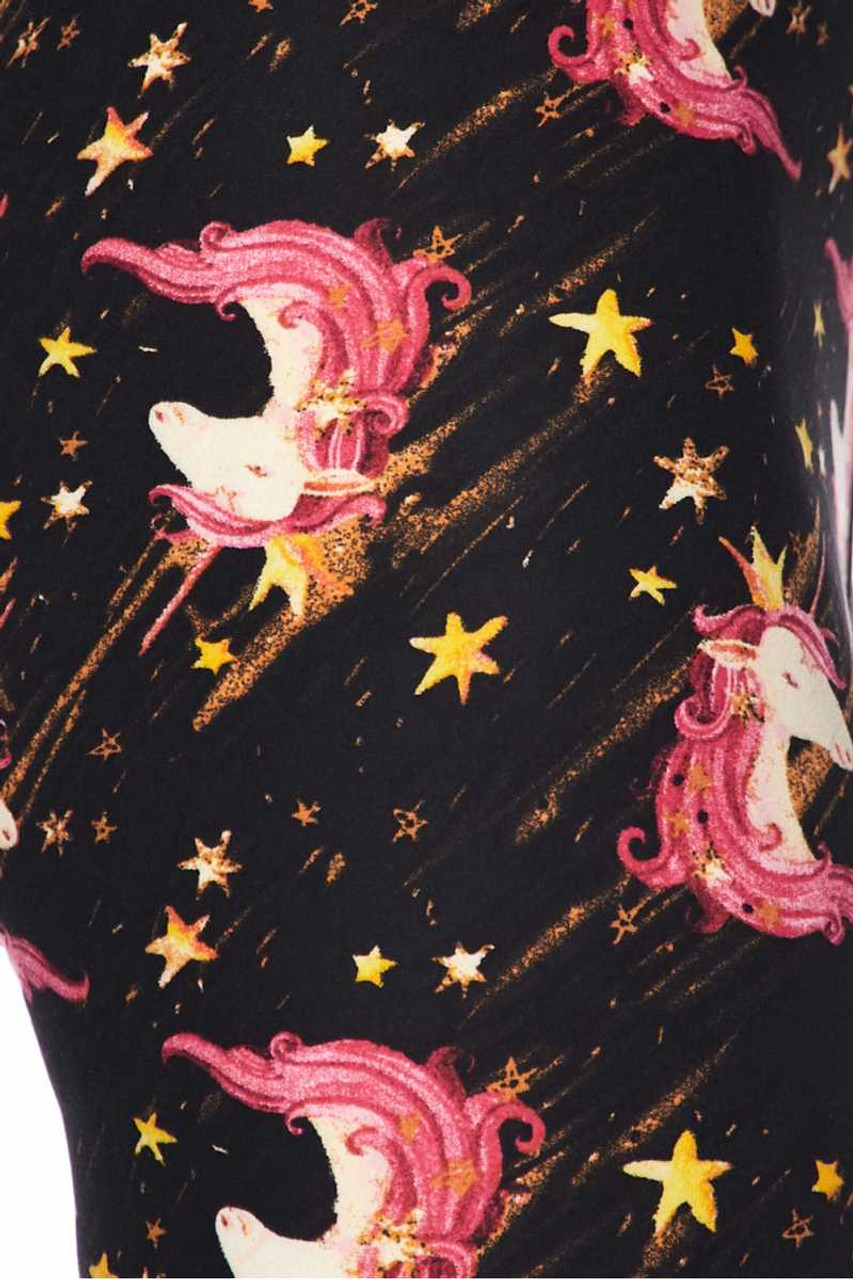 Close up swatch of Buttery Soft Twinkle Unicorn Plus Size Capris