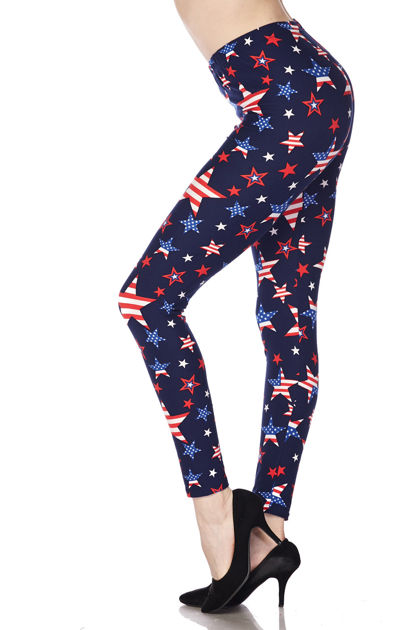 Left side leg image view of our Buttery Soft USA Stars Leggings, perfect for the Fourth of July
