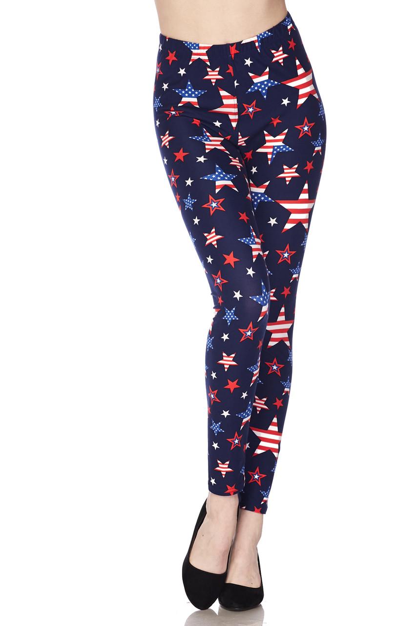Front of full length skinny leg Buttery Soft USA Stars Plus Size Leggings