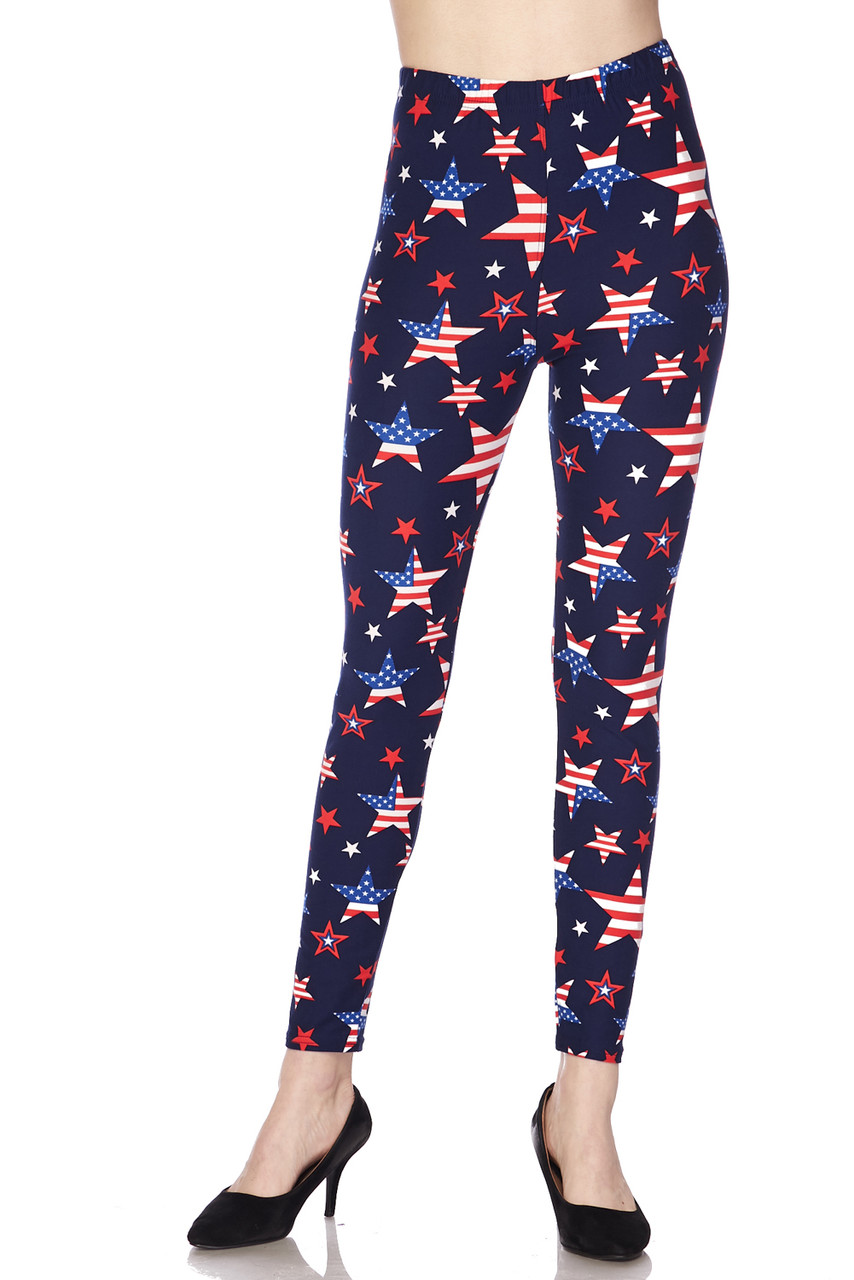 Front view of mid rise Wholesale Buttery Soft USA Stars Plus Size Leggings featuring a comfort stretch elastic waist.