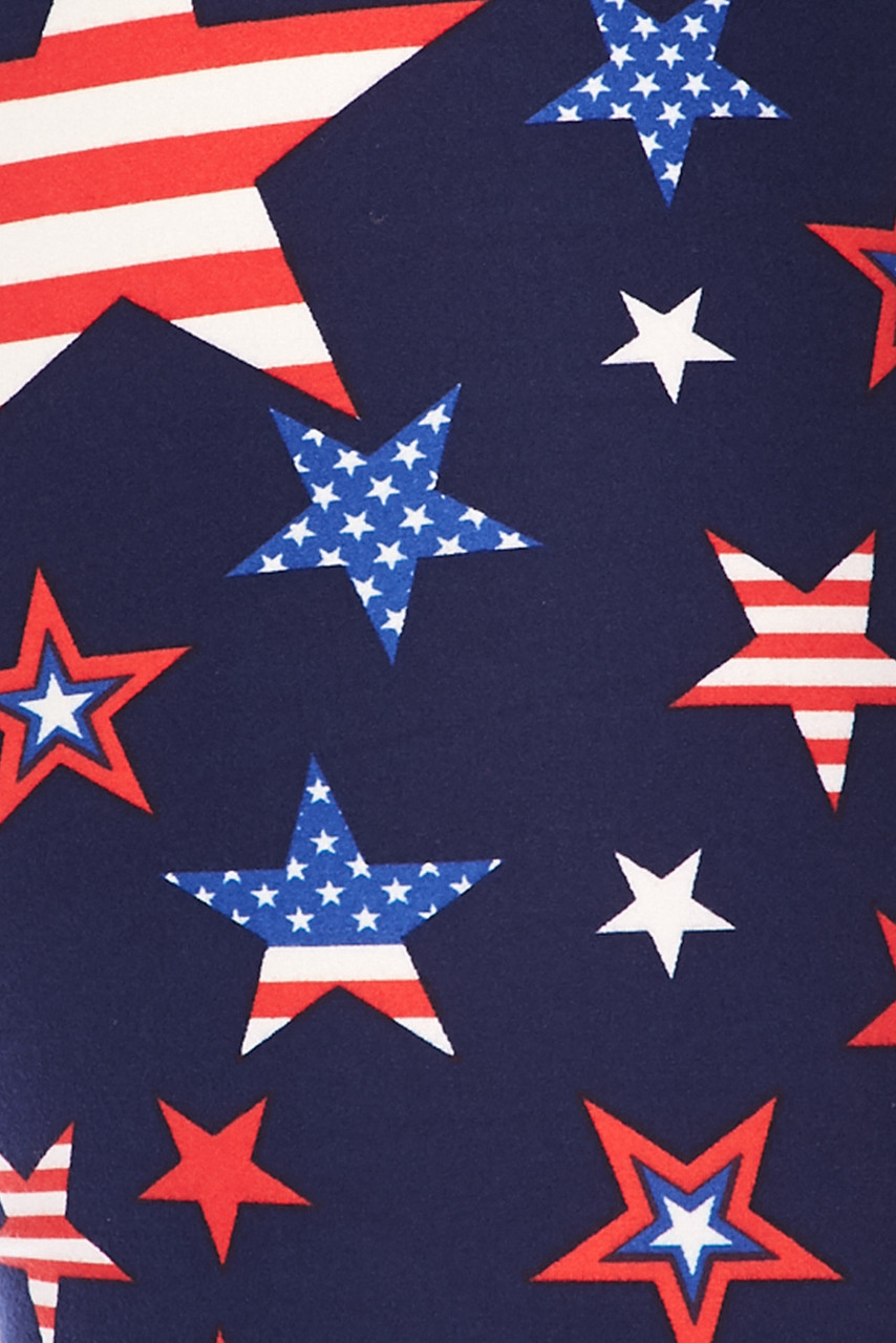Close up swatch of Buttery Soft USA Stars Plus Size Leggings