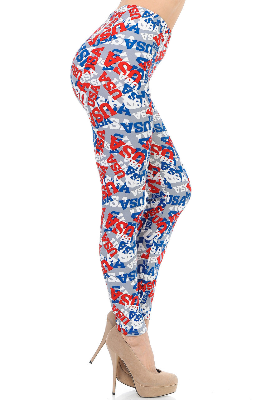 Right side view image of Buttery Soft All Over USA Capris  Buttery Soft All Over USA Leggings