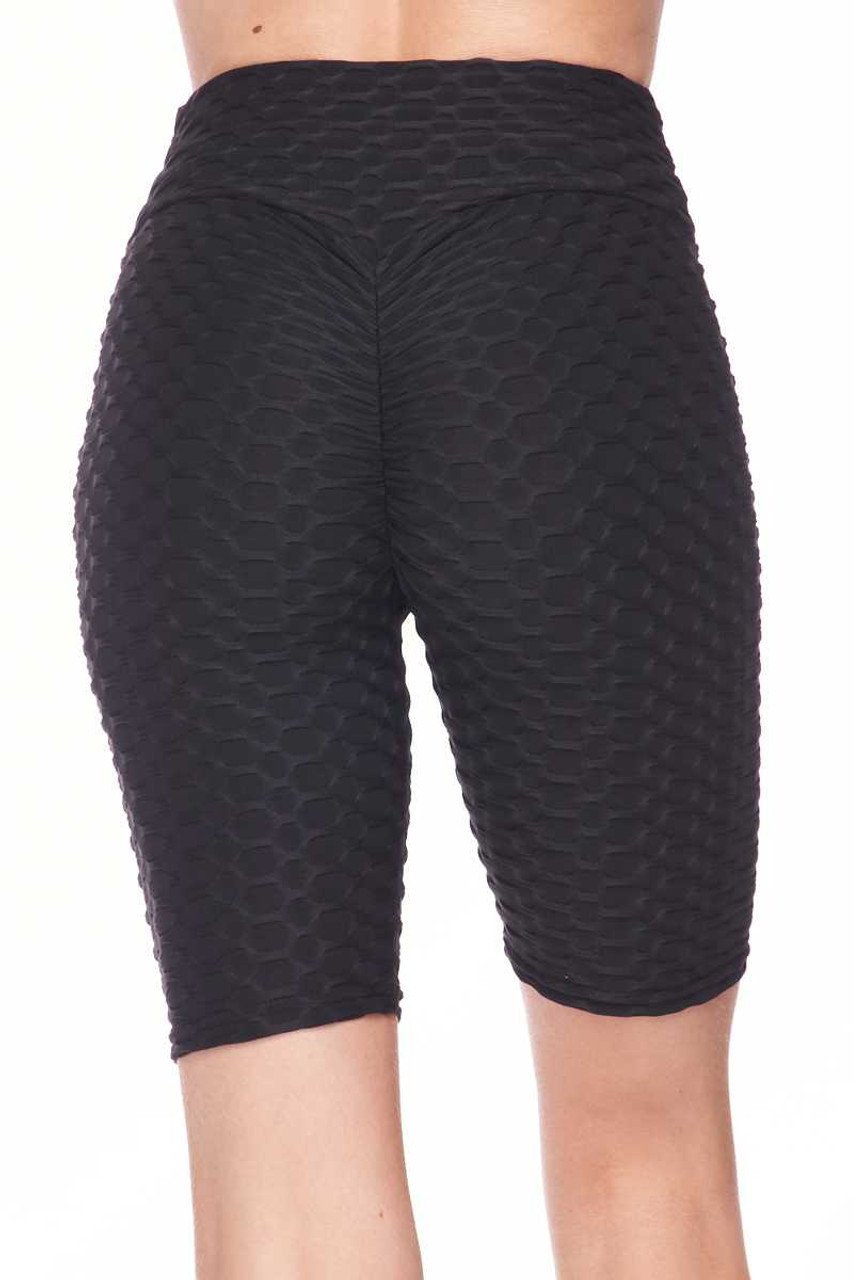 Back view image of black Scrunch Butt Textured High Waisted Shorts