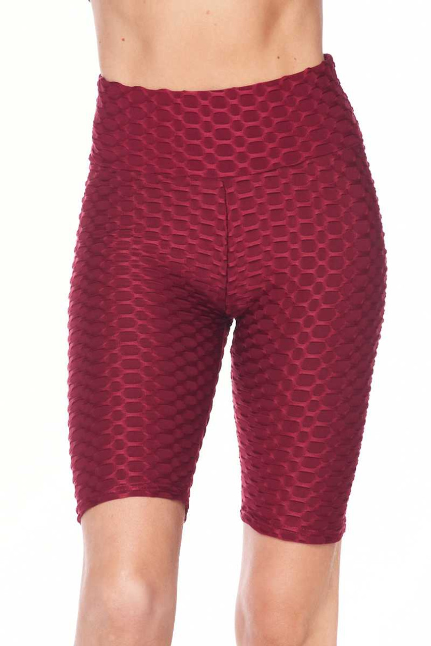 Front view image of burgundy Scrunch Butt Textured High Waisted Shorts