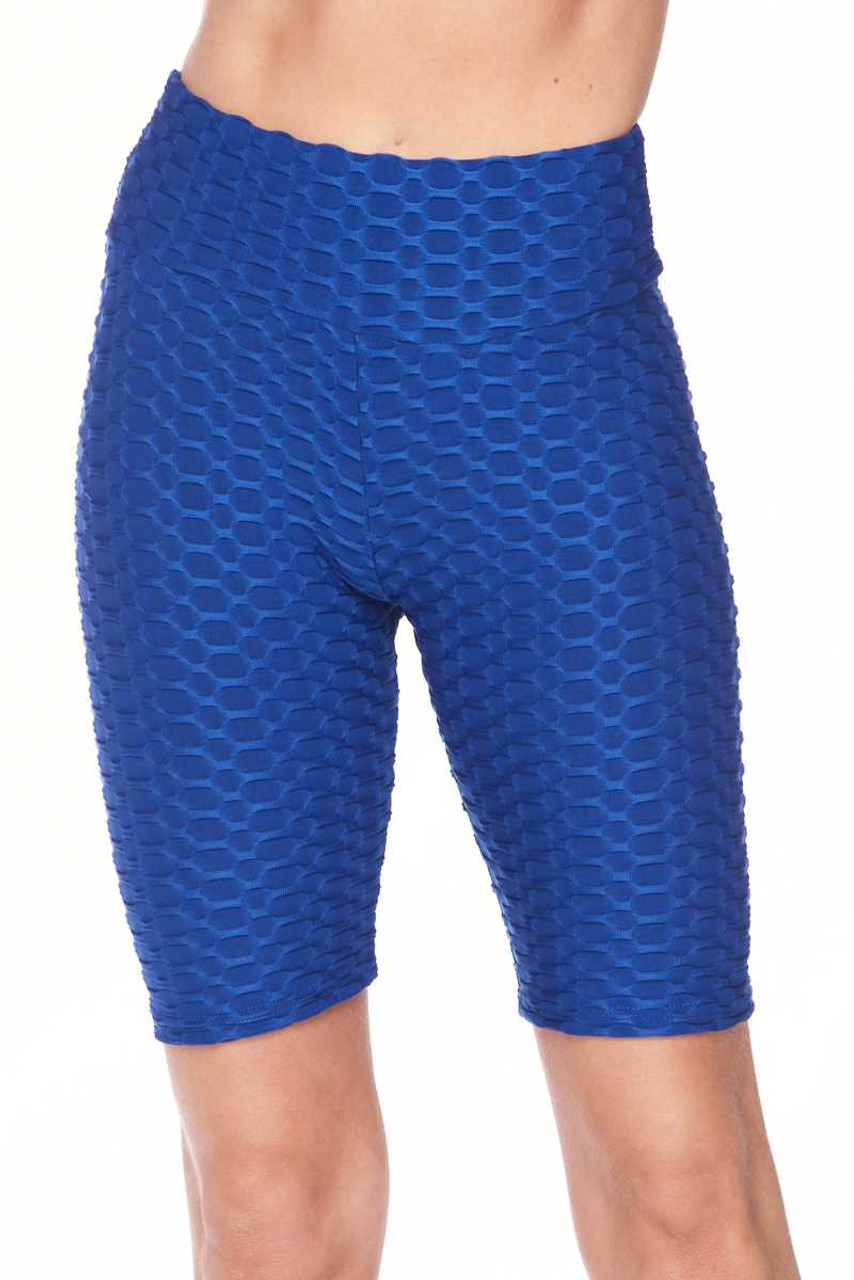 Front view image of blue Scrunch Butt Textured High Waisted Shorts