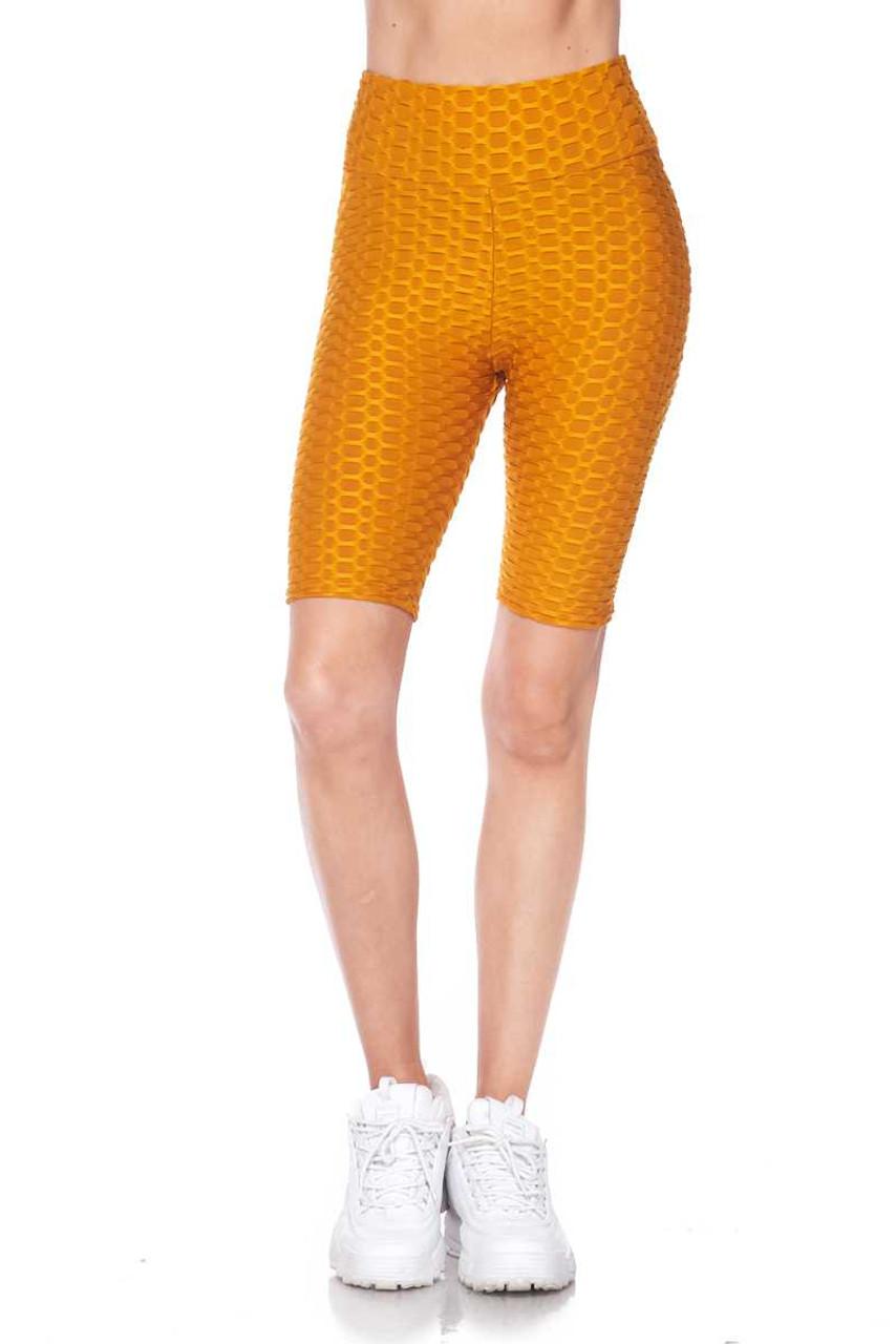 Wholesale Scrunch Butt Textured High Waisted Shorts