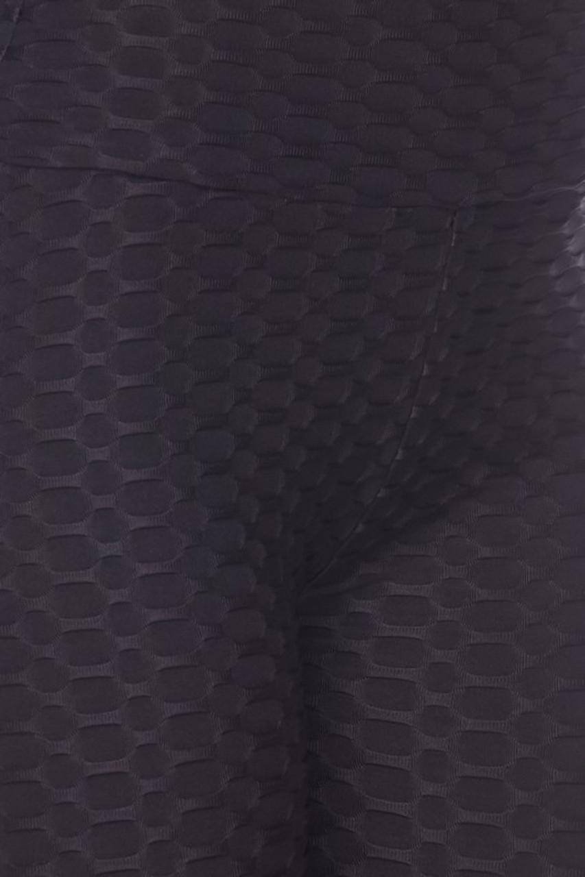Close up image of black Scrunch Butt Textured High Waisted Shorts