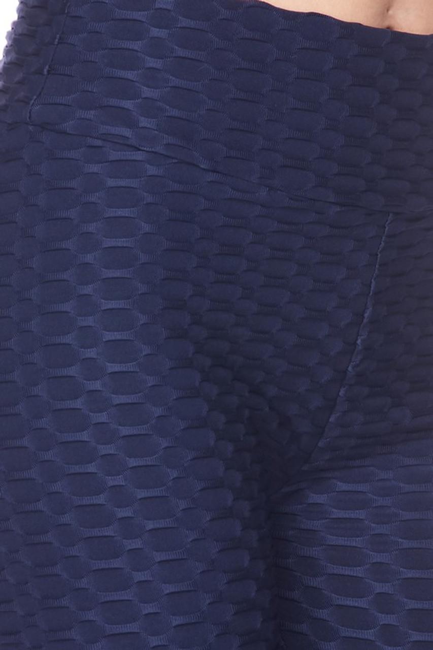 Close up image of navy Scrunch Butt Textured High Waisted Shorts