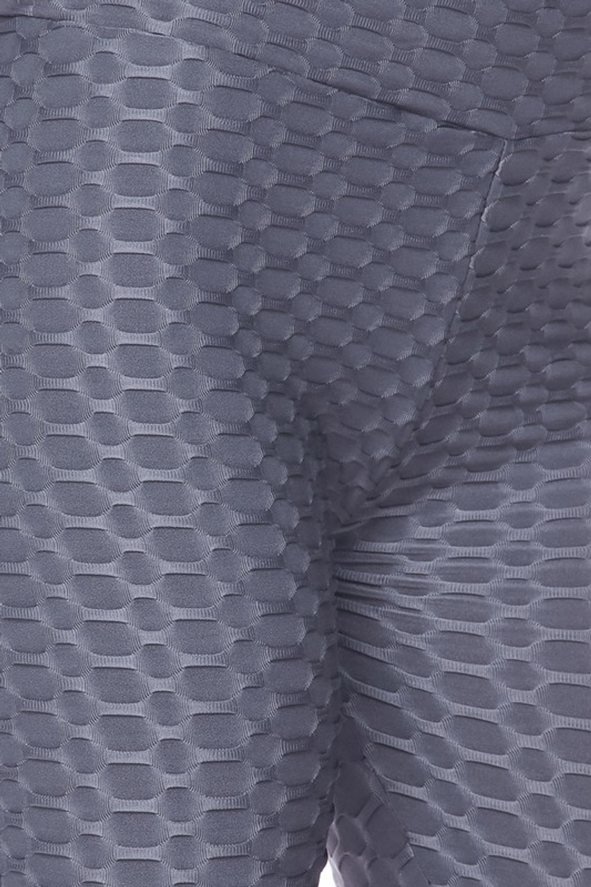 Close up image of charcoal Scrunch Butt Textured High Waisted Shorts