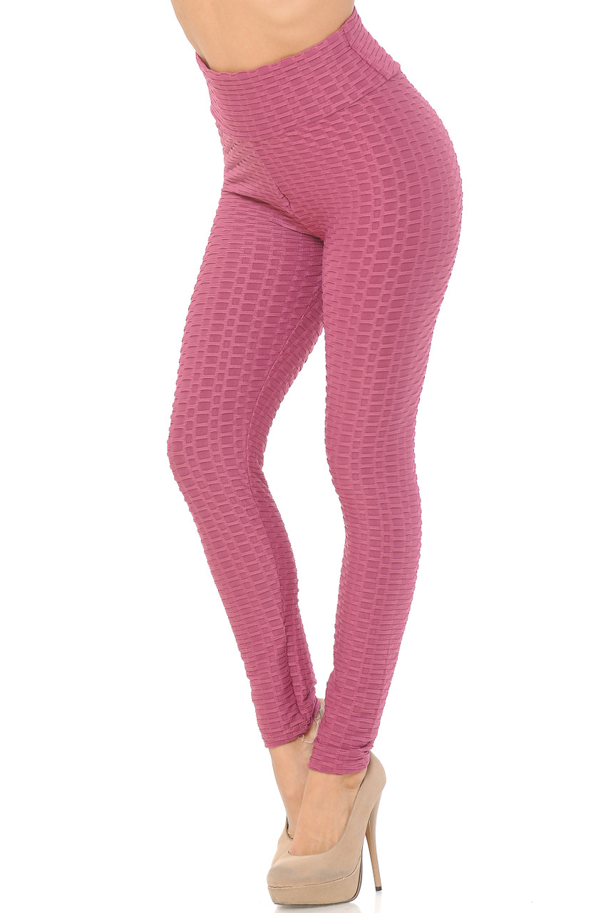Left side/Partial front view of Scrunch Butt Textured High Waisted Leggings