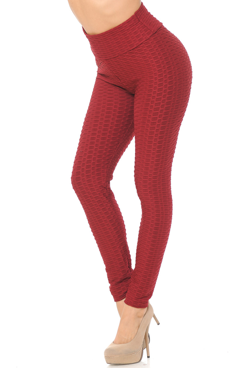 Partial front/Left side view of burgundy Scrunch Butt Textured High Waisted Leggings