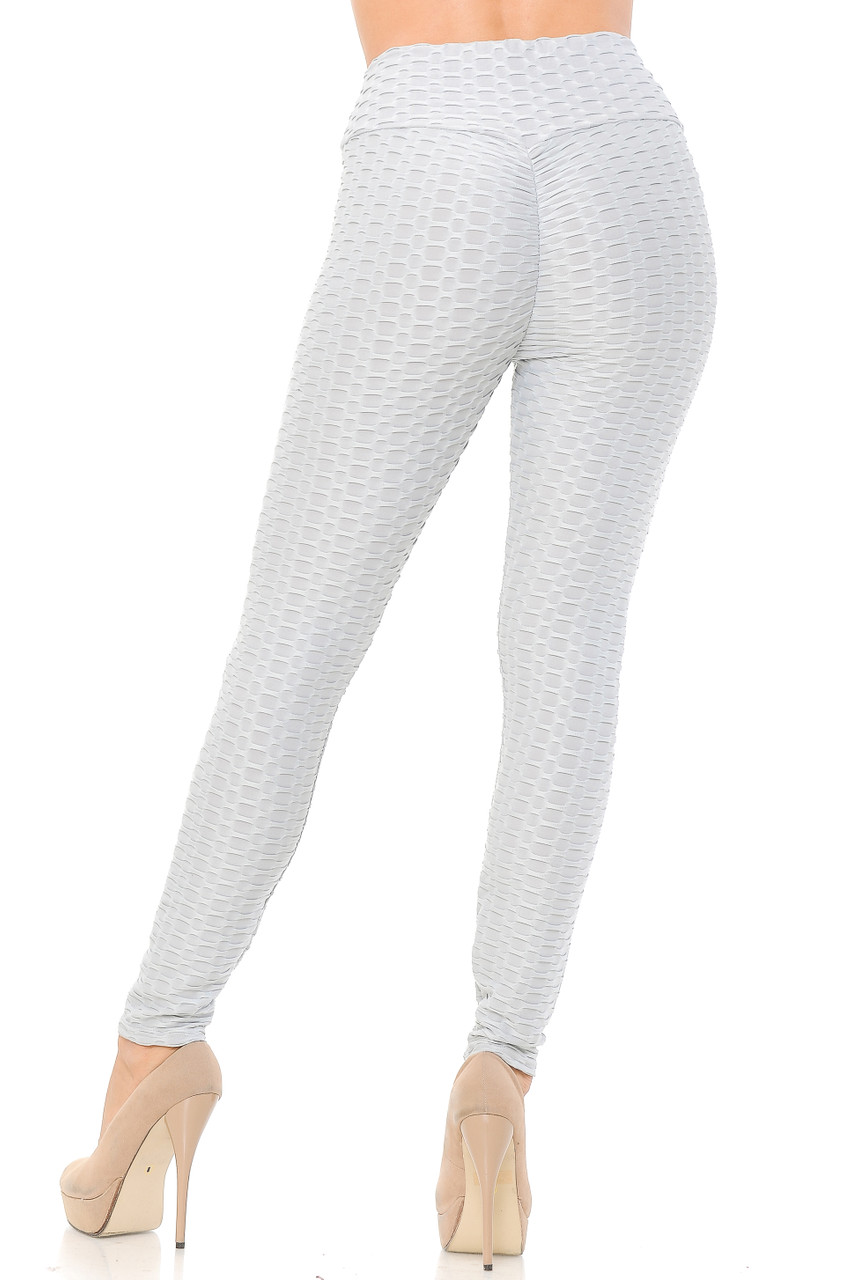 Rear view image of light grey Scrunch Butt Textured High Waisted Plus Size Leggings