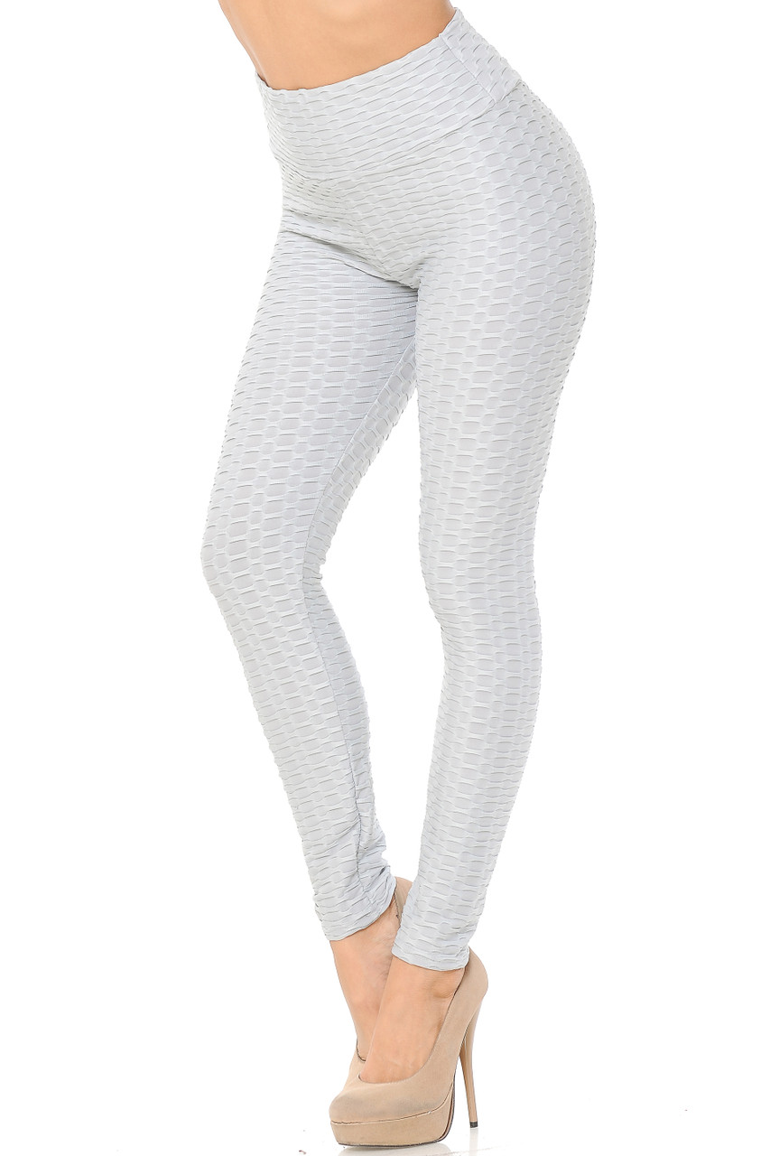 Left view image of light grey Scrunch Butt Textured High Waisted Plus Size Leggings