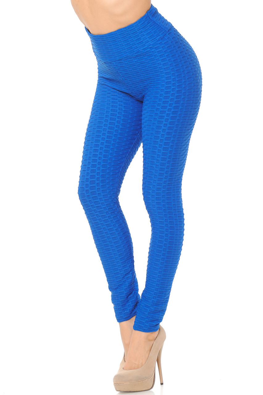 Left side view image of blue Scrunch Butt Textured High Waisted Plus Size Leggings