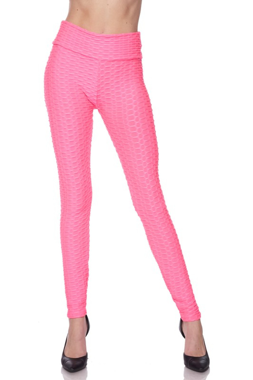 Front image view of neon pink Scrunch Butt Textured High Waisted Plus Size Leggings