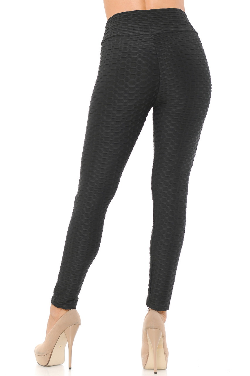 Rear image view of black Scrunch Butt Textured High Waisted Plus Size Leggings
