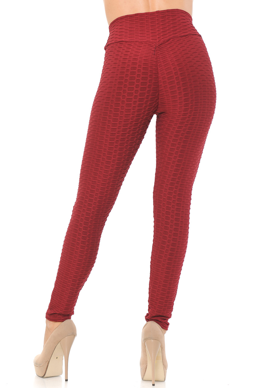 Rear image view of red Scrunch Butt Textured High Waisted Plus Size Leggings