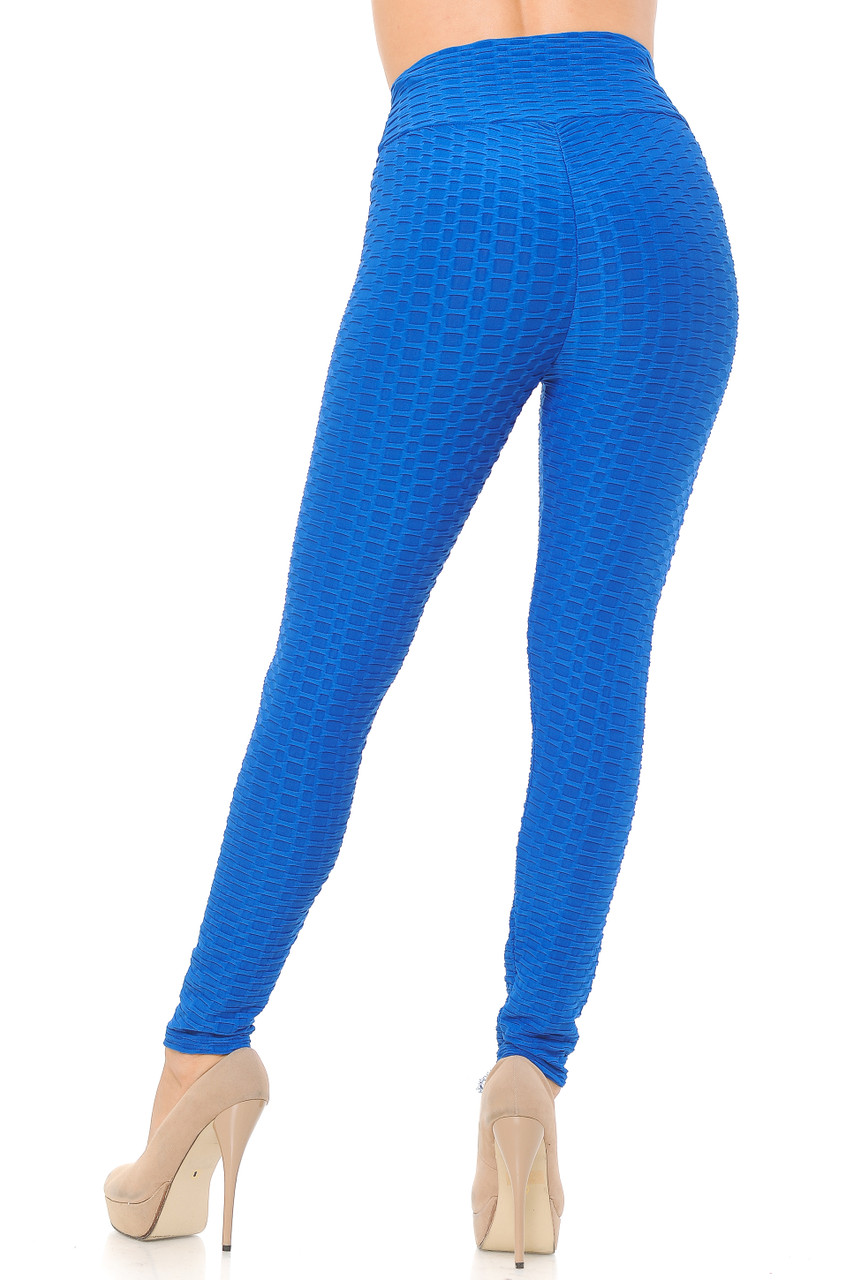 Rear image view of blue Scrunch Butt Textured High Waisted Plus Size Leggings