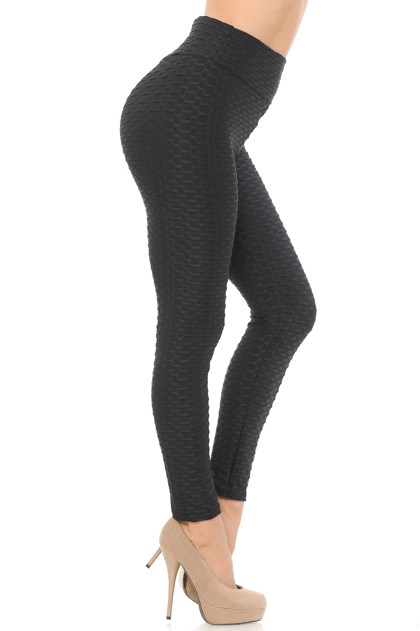 Right side image view of black Scrunch Butt Textured High Waisted Plus Size Leggings