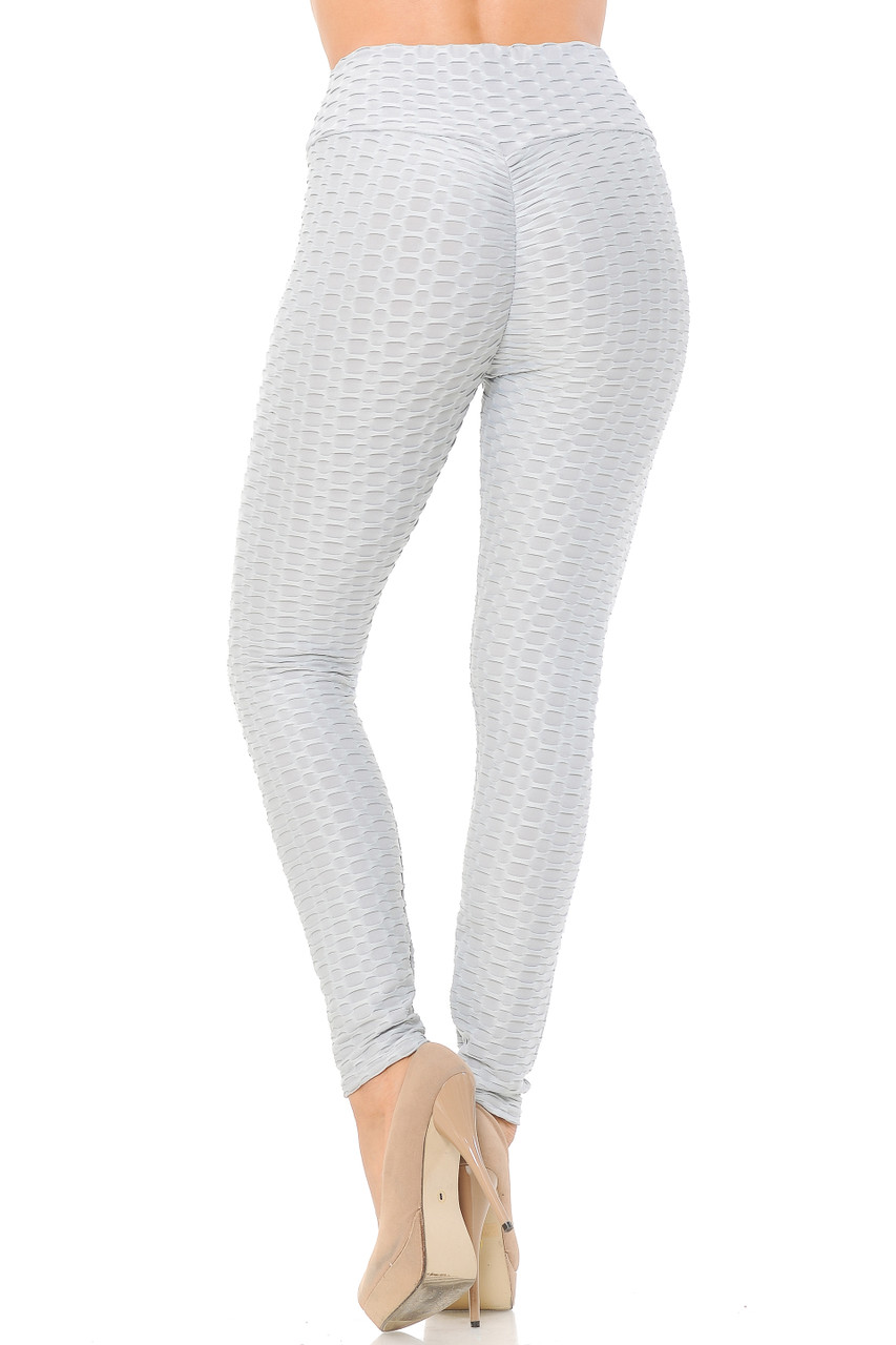 Back view image of heather gray Scrunch Butt Textured High Waisted Plus Size Leggings