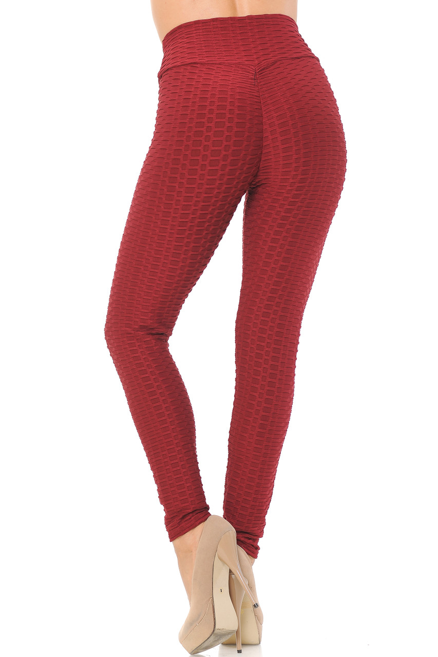 Back view image of burgundy Scrunch Butt Textured High Waisted Plus Size Leggings