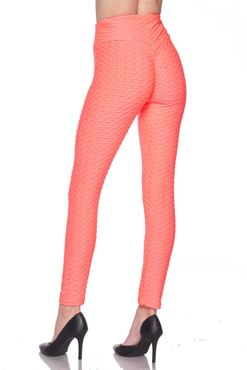 Rear view image of neon coral Scrunch Butt Textured High Waisted Plus Size Leggings