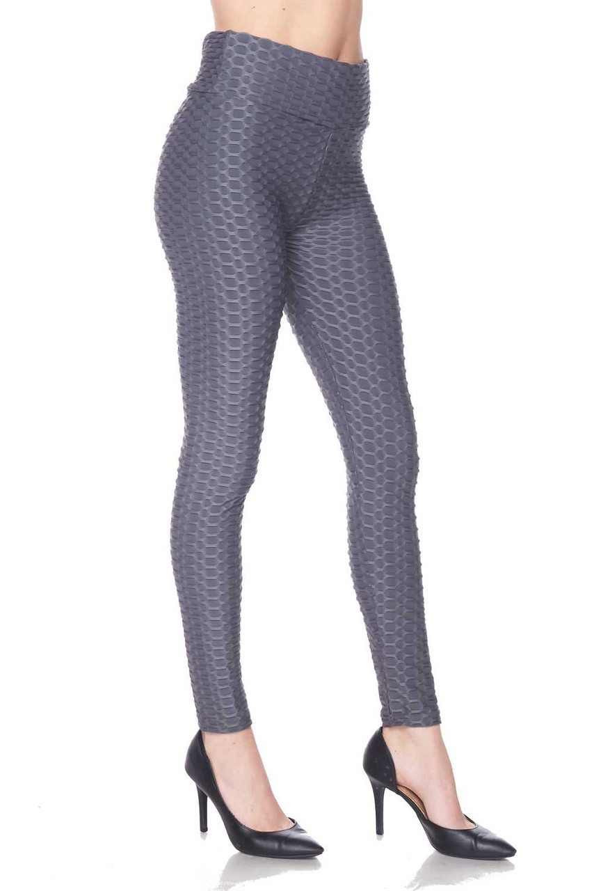 Right side view image of charcoal Scrunch Butt Textured High Waisted Plus Size Leggings