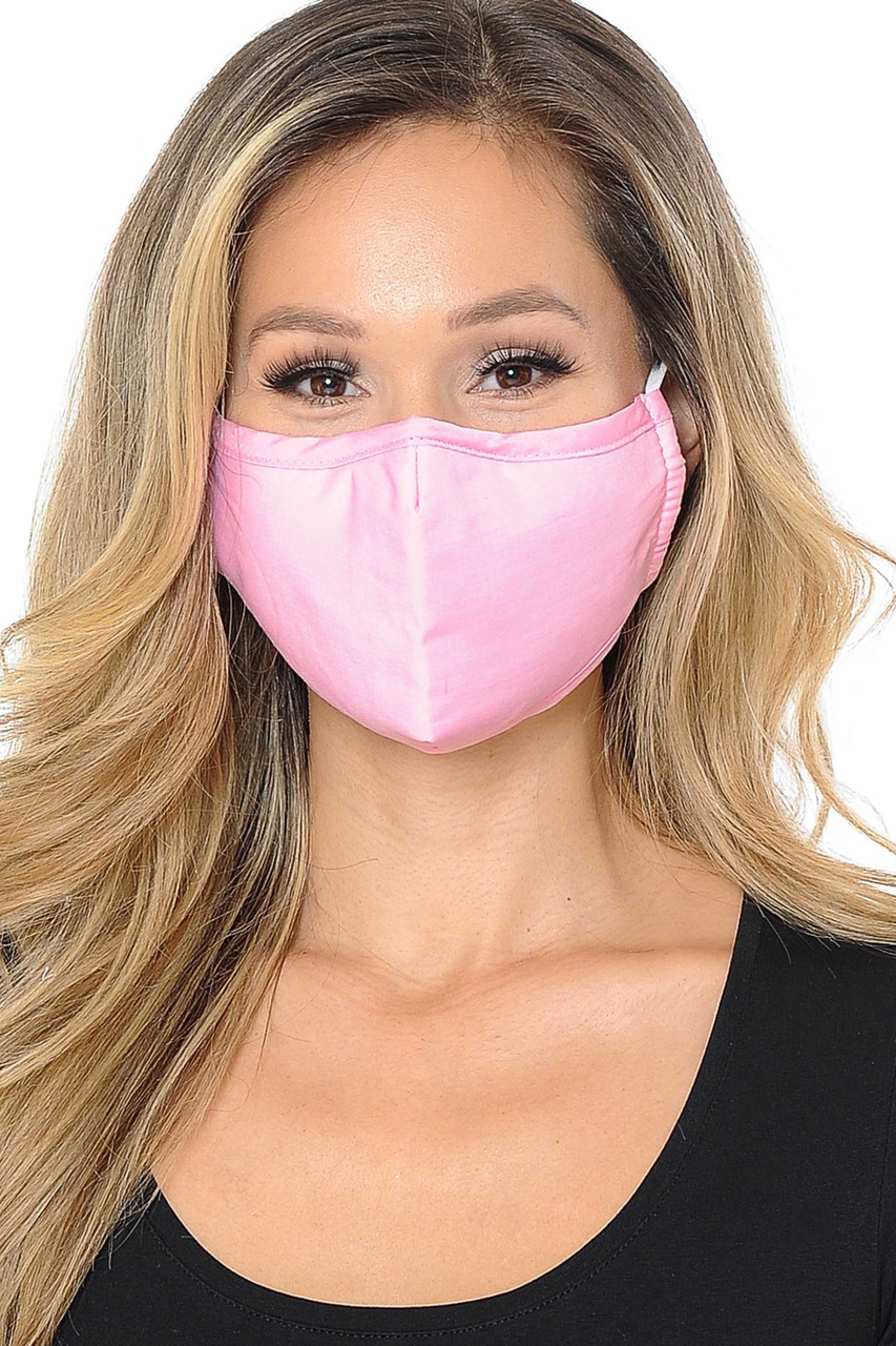 Front view image of pink 3 Ply Face Mask with Inner Built in Filter - Nose Closure - Adjustable Ear Ties