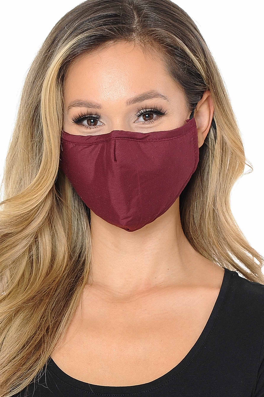 Front view image of burgundy Wholesale 3 Ply Face Mask with Inner Built in Filter - Nose Closure - Adjustable Ear Ties