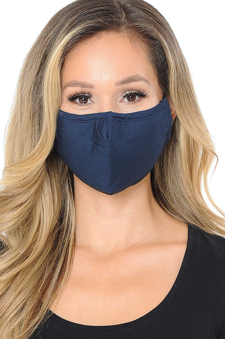 Front view image of navy Wholesale 3 Ply Face Mask with Inner Built in Filter - Nose Closure - Adjustable Ear Ties